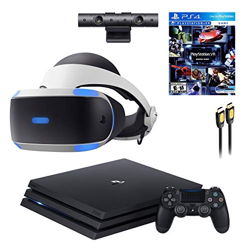 PS4 Playstation 4 Console VR Set - Playstation 4 Pro Console, PS5 Compatible PSVR Headset, Camera, Wireless Controller and SPSE HDMI 4K Cable