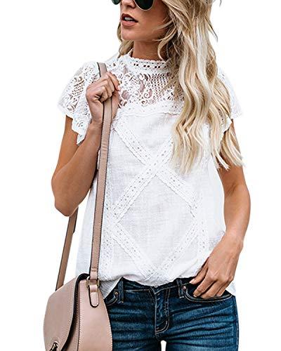 Yidarton Tee-Shirt Femme en Dentelle Col Rond Manche Courtes Blouse Eté Casual Élégant Top (Blanc, Large)