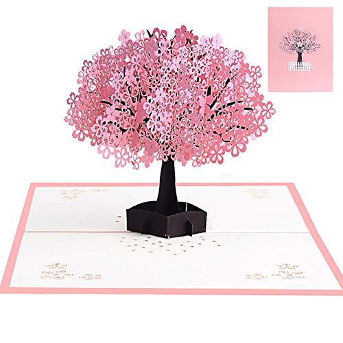 Rosa Kirschblüte Valentinstag Karte,Pop Up 3D Karte Grußkarte mit Umschlag,3D Karte,3D Pop-Up-Grußkarten Geburtstag,geburtstagskarte liebe,karte,Glückwunschkarte für frauen,3D Herz Grußkarten(Baum)