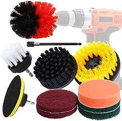 Juego de 11 piezas de cepillo de taladro para limpieza multiusos con almohadillas de estropajo/esponja de pulido/extensión, suministros de limpieza para cocina, baño, suelos, azulejos, coche