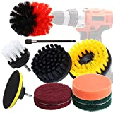 Drill Brushes Attachment Kit - 11 Pieces Power Scrubber with Scouring Pad / Polishing Sponge / Extender, Kitchen Cleaning Supplies, Bathroom, Floor, Tiles, Car