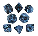 Paladin Roleplaying Gray and Blue Dice - Expanded DND Set with Extra D20 - 'Storm Lord'