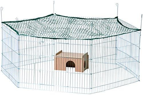 dobar 80605 Großes Kaninchengehege aus 6 Elementen, mit Nylon Netz und Holzhaus, XXL Freilauf für Hasen, Freilaufgehege XL, 165 x 145 x 60 cm, Silber - 3