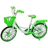 alles-meine.de GmbH 2 Stück _ große - Fahrräder / Bike - E-Bike mit Korb - grün & weiß - 18 cm - stabiles Metall - Modell Maßstab: 1:10 - Deko & Spielen - Dekofahrrad - für Kinde.. -