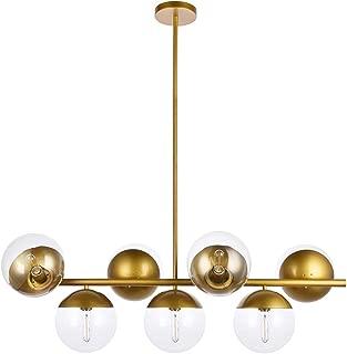 A1A9 Sphere Glass Ceiling Lights with 7-Light, Mid Century Modern Clear Glass Sputnik Chandelier, Branch Magic Bean Linear Pendant Light Fixture for Dining Room, Living Room, Foyer, Bar (Brass)