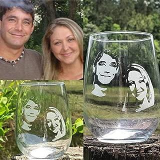 Personalized Engraved wine glass, Custom picture wine glass,engraved photo whiskey glass, photo engraved beer mug