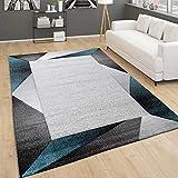 Alfombra De Salón Moderna Pelo Corto con Ribetes Y Motivo Geométrico 3D, tamaño:120x170 cm, Color:Turquesa