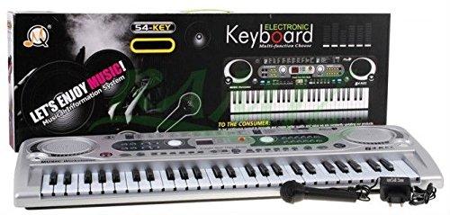 BSD Keyboard MQ-824USB mit Aufnahme-Funktion und Mikrofon, USB - 100 Sounds und 100 Rythmen, Zwei Lautsprecher, Lautstärkeregler, 54 Tasten, LCD-Anzeige - Electric Piano