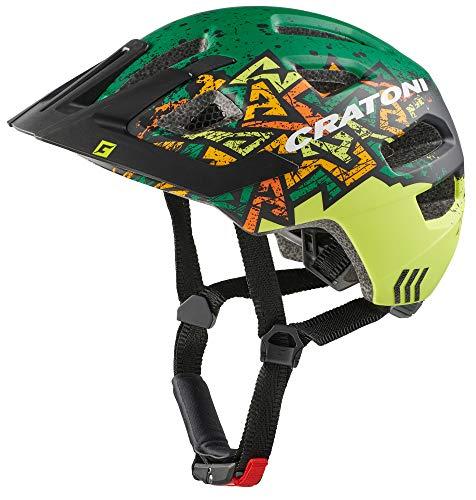 Cratoni Maxster Pro wild Jugendhelm mit Rücklicht Fahrradhelm Allround Kinderhelm (wildes grün, S/M (51-56 cm))