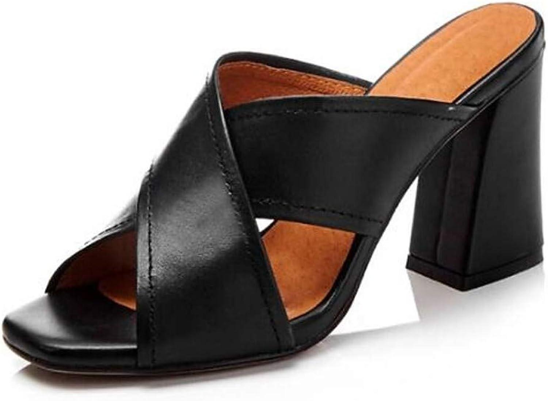 IWlxz Women's Nappa Leather Summer Sandals Chunky Heel Black Beige Brown