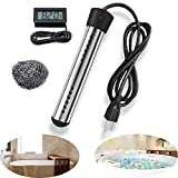 Immersion Water Heater, 1500W Portable Electric Water Heater with Stainless Steel Protective Cover & Digital LCD Thermometer, Great for Bathtub,Inflatable Pool, Camping (Black)