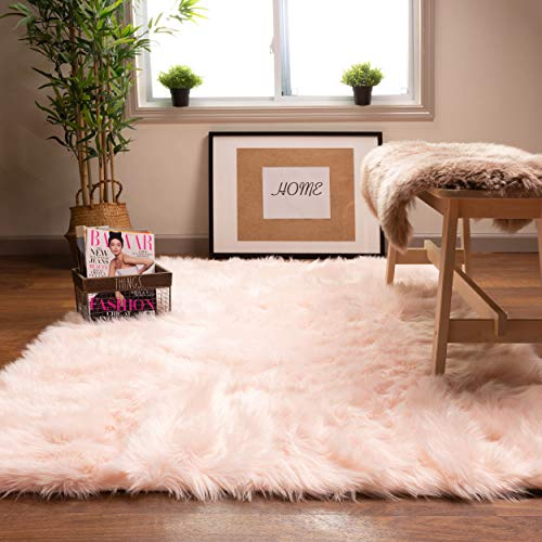 Super Area Rugs Soft Faux Sheepskin Fur Fluffy Area Rug, Light Pink, 4