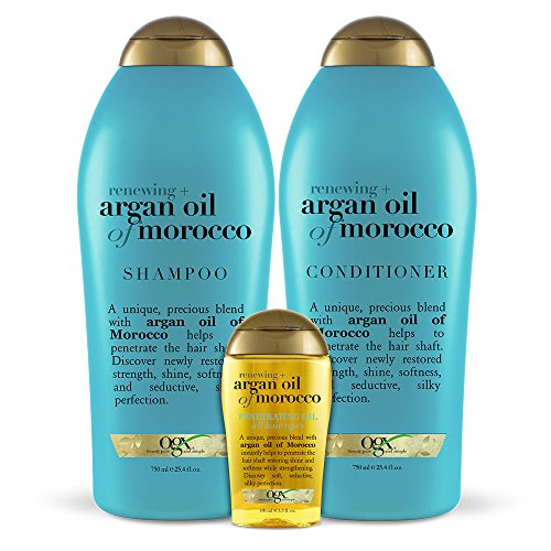 OGX Renewing + Argan Oil of Morocco Shampoo, Conditioner & Penetrating Oil 3 Piece Collection, 25.4 Ounce Shampoo & Conditioner/4 Ounce Oil