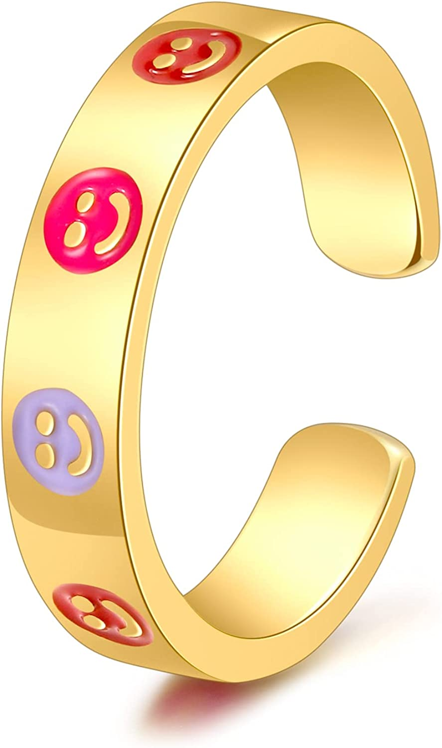 Smiley Face Ring For Women,Y2k Rings Colorful Promise Cute Best Friend Gold Rings For Teen Girls Adjustable Trendy Dainty Funky Gifts Aesthetic Simple Finger Enamel Jewelry