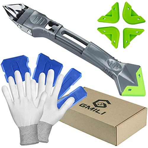 Gmili Kit de HHerramienta para quitar silicona 5 en 1, juego de raspador de lechada, Seam Repair Tools + Guantes de trabajo, herramienta selladora para azulejos, cocina, baño, suelo