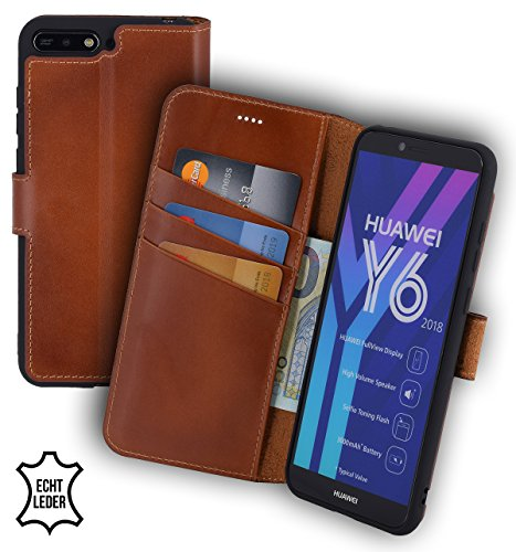 Suncase Book-Style (Slim-Fit) Leather Case Mobile Phone Case Cover (met standaard functie en kaartenvak - onbreekbare binnenschaal) voor Huawei Y6 (2018), gebrand cognac