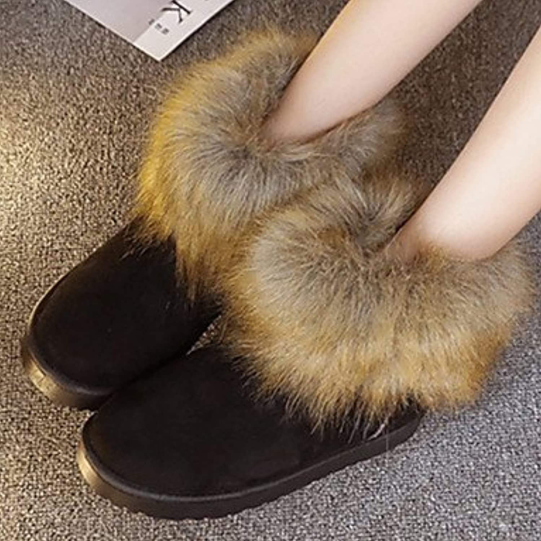 Women Fall Winter Comfort Fur Outdoor Casual Flat Heel Black Brown Red Walking