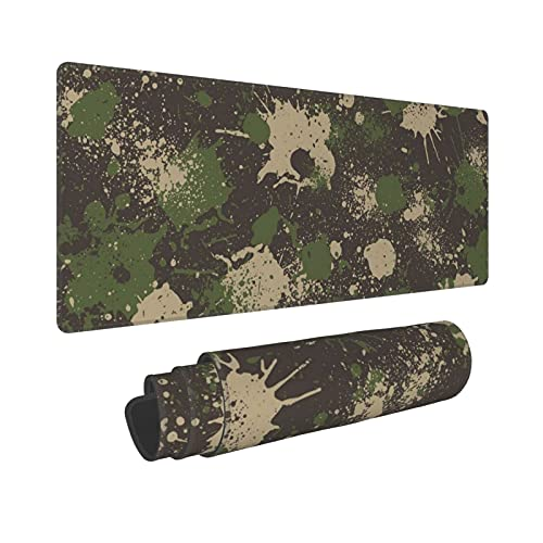 Camo Camouflage Large Gaming Mouse Pad Green and Black XL Long Extended Full Mousepad Desk Mat Nonslip Rubber Base Stitched Edges Mice Pads 31.5'' X 11.8'' for Keyboard Gamer