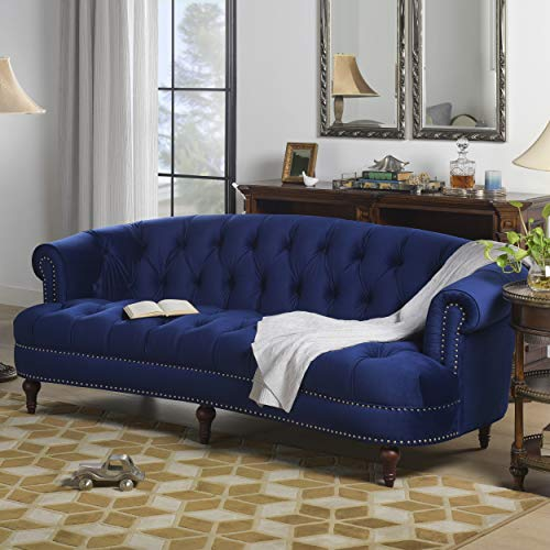 Jennifer Taylor Home La Rosa Collection Modern Victorian Hand-Tufted Upholstered Velvet Sofa with Rolled Back and Nail Head Trim, Navy Blue