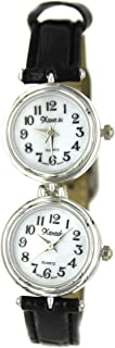 Women's Sophistication Classic Silver-Tone Dual Time Black Leather Watch