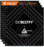 """Ender 3 Build Surface, 3D Printer Heated Bed Cover 3D Printer Build Surface Platform for Ender 3/3X/3 Pro/5/Pro,Anet A8, 9.25""""x9.25""""(235x235mm) Square for 3D Printer DIY (Pack of 4)"""
