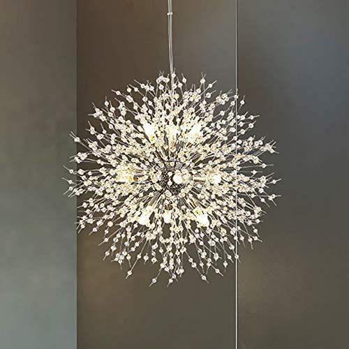 Vikaey moderne Kristall Kronleuchter, Feuerwerk Sputnik Löwenzahn Kronleuchter Leuchte Leuchte Für Home Restaurant Bar (9-Licht, Chrom)