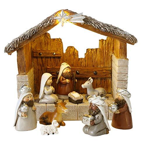 B&B Weihnachtskrippe mit LED Beleuchtung 10tlg Weihnachten Krippe Figuren Kunstharz 17cm Tischkrippe Weihnachtsbeleuchung Krippe beleuchtet Fensterschmuck Deko