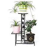 TTHB1 Portavasi da Giardino Black/Brown Flower Shelf Scala Floreale Staircase in Metallo Stands Inside Stand-Shelf Plant Scaffale con 3 Livelli, 55x23x76cm (Color : B)