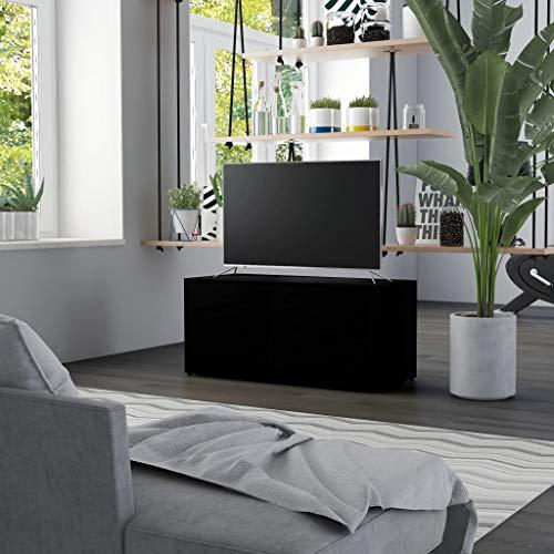 UnfadeMemory TV-Schrank Spanplatte Fernsehschrank mit 2 Schubladen und 1 Fach mit Tür TV-Ständer Wohnzimmer TV-Lowboard 80x34x36 cm (Schwarz)