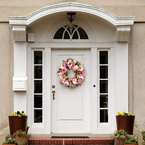 PPuujia Artificial Flower Wreath Peony 16inch Door Wreath Spring Round Wreath For The Front Door, Wedding, Home Decor 2021 NEW