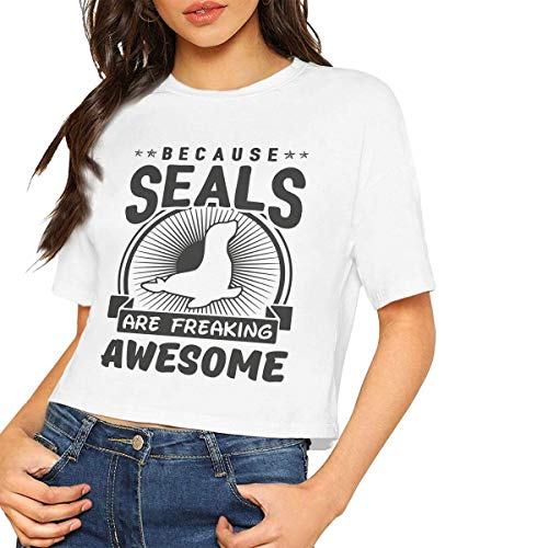 Jeffhd_tee Womens Casual Short Sleeve T-Shirts Because Seals Are Freaking Awesome Crop Tops