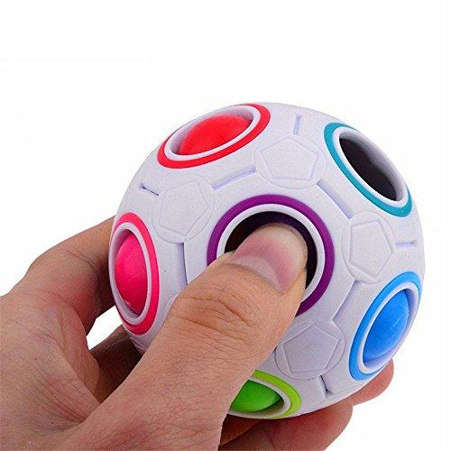 WATERSPA Puzzle Cube Fidget Pop Rainbow Magic Ball Cubo de plástico Twist Puzzle Juguetes para niños Juguetes educativos para niños Adolescentes Adultos Aliviador del estrés (Rainbow)