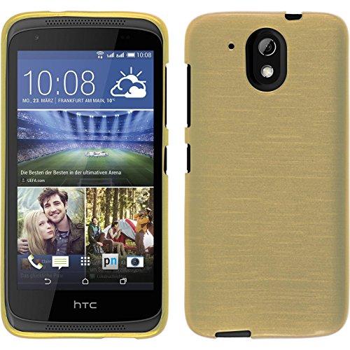 PhoneNatic Hülle kompatibel mit HTC Desire 526G+ - Gold Silikon Hülle Brushed + 2 Schutzfolien