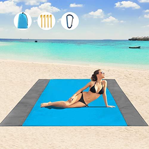 WOHOOH Picknickdecke 210 x 200 cm, Stranddecke wasserdichte, Sandabweisende Campingdecke 4 Befestigung Ecken, Ultraleicht kompakt Wasserdicht und sandabweisend