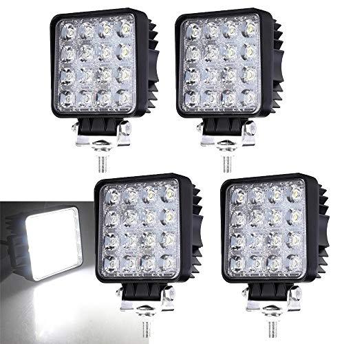 Hengda LED Arbeitsscheinwerfer 4 X 48W Zusatzscheinwerfer 4320LM Auto Scheinwerfer Offroad Flutlicht Spotlight 6000K Wasserdicht IP67 Arbeitslicht