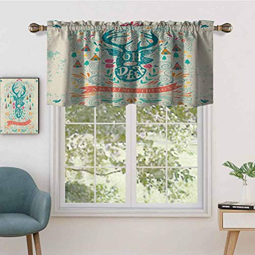 Hiiiman Elegant Rod Pocket Curtain Valances Reindeer with Antlers with Native American Tribal Element Flowers, Set of 2, 42'x36' Home Decoration for Boys-Girls Room