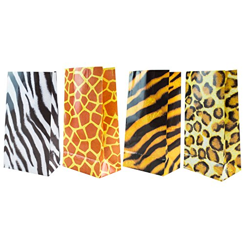 Super Z Outlet Zoo Animal Print Design Pattern Paper Bags for Candy Party Favors, Snacks, Decoration, Children Arts & Crafts, Lunch Picnics, Event Supplies (36 Bags)