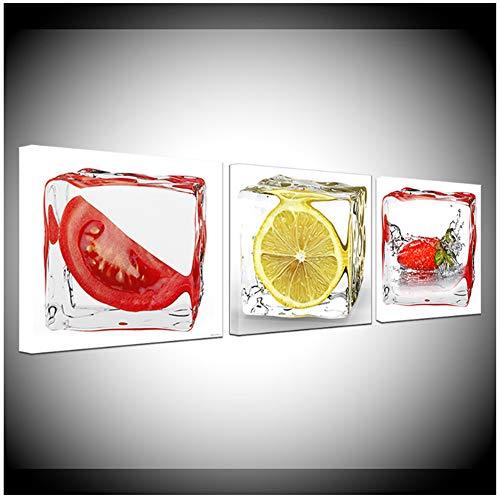 sjkkad Tomaten Zitrone Erdbeere in Reis Abstrakte Malerei Moderne 3 Panel Wand Poster Nordic Leinwand Malerei Home Decor -50x50cm x3pcs No Frame