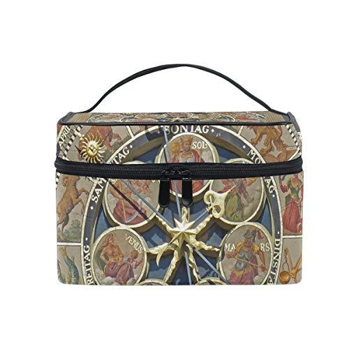 Kosmetiktasche für Damen, Mädchen, Vintage-Design, mit Uhr, aus Segeltuch