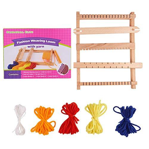 PandaHall - Lot de 1 Set Bois Loom Knitting Metiers a Tisser avec Fils, Navettes, Chaine Trame Reglage Rods, Combs et Navettes, Beige, 220x165x25mm