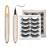 2021 Magic Self-adhesive Eyeliner Pen with Eyelashes Kit,2 in 1 Eye Liner Lash Glue Pen,5 Pairs 3D Faux Mink False Eyelashes,Waterproof&Long Lasting for Eye Makeup