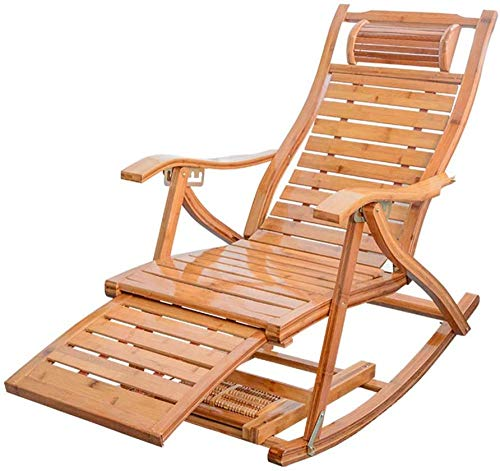 WUY Rocking Chair Bamboo Folding Armchair Lounging Rocker Deck Relaxing Recliner Lounger Seat for Living Room Patio Poolside Camping Indoor Outdoor