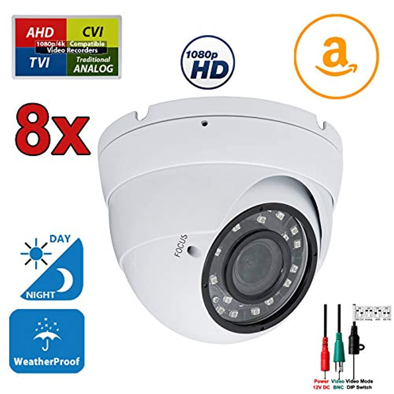 Evertech 8 pcs 1080p HD AHD TVI CVI and Traditional Analog Security Camera with 2.8-12mm Varifocal Zoom Lens, Day & Night, Indoor & Outdoor Dome Surveillance Camera