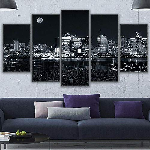 Canvas Picture -5 Piece Abstract Black And White Los Angeles Harbor Nightscape 150x80 5 Part Panels Ready to Hang - wall art print -Completely framed - Image printed -art on canvas - Art print Images