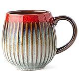 Dailyland Ceramic Coffee Melon Mug Reactive glaze 18 oz for home and office (grey Red)