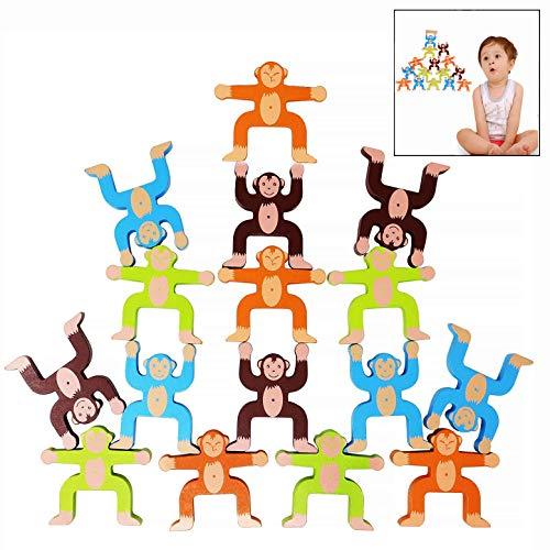 LHKJ Equilibrio Bloques de Madera de Apilamiento Bloque de Construccion, Monos Madera Bloques de Apilamiento, para Desarrollar la Inteligencia Infantil