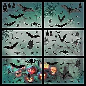 Yuson Girl 6 Hojas Halloween PegatinasParedDecorativas Pegatinas Estáticas de PVC Murciélago Pegatina Araña Telaraña Decoración de Fiestas 113 PCS Terror Pegatinas para Ventanas