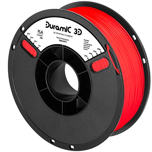 DURAMIC 3D PLA Filament 1.75mm Translucent Red, 3D Printing Filament with Build Surface 7.8 x7.8in, 1kg Spool, No-Tangling Dimensional Accuracy +/-0.05 mm, Consistent Performance for 3D Printer