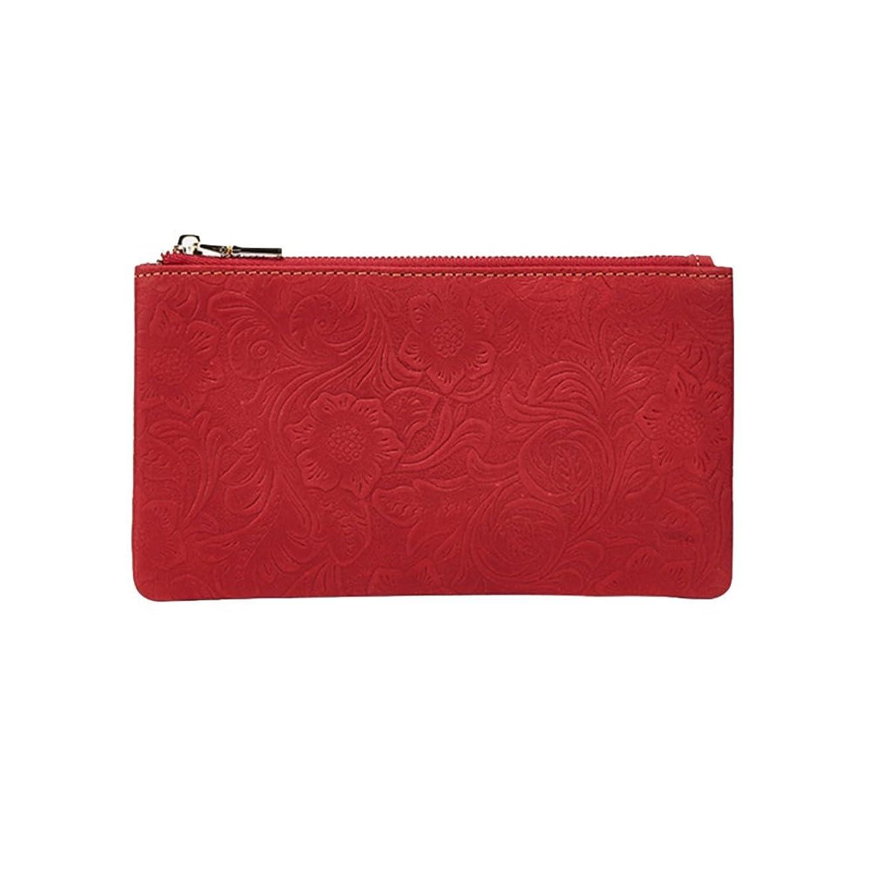 尋ねる差別通知女性のRFIDブロッキング財布 レザー Ms. ウォレット 革の最初の層 パターン ロングセクション ジッパー ウォレット ウォレット財布 クレジットカードホルダーコインポケット財布 (色 : 赤)
