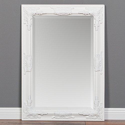 LEBENSwohnART Wandspiegel BESSA weiß-pur 70x50cm barock Spiegel Holzrahmen mit Facette